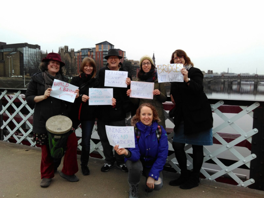 kindness-has-no-borders-on-glasgow-bridge